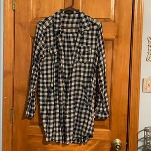 Flannel dress, super cute with a belt and boots.